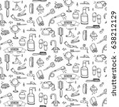 seamless pattern hand drawn... | Shutterstock .eps vector #638212129