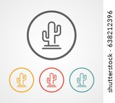 cactus stroke line logo icon... | Shutterstock .eps vector #638212396