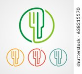 food stroke line logo icon with ... | Shutterstock .eps vector #638215570