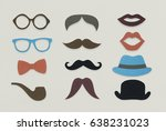 glasses pipe mustache hat... | Shutterstock . vector #638231023