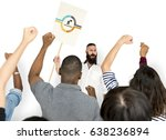 man holding network graphic... | Shutterstock . vector #638236894