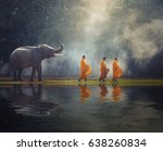 thailand buddhist monks walk... | Shutterstock . vector #638260834