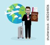 hipster businessman presenting... | Shutterstock .eps vector #638264836