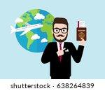 hipster businessman presenting... | Shutterstock .eps vector #638264839