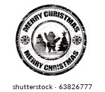 Grunge Christmas stamp with the text Merry Christmas written inside - stock vector