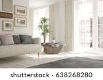 white modern room with sofa.... | Shutterstock . vector #638268280