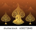 buddha and bodhi tree gold... | Shutterstock .eps vector #638272840