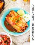 dinner plate with chicken... | Shutterstock . vector #638274010