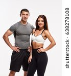 sporty man and woman | Shutterstock . vector #638278108