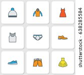 dress colorful outline icons... | Shutterstock .eps vector #638285584