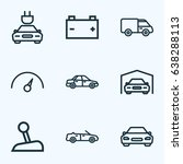 automobile outline icons set.... | Shutterstock .eps vector #638288113
