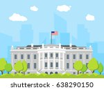 cartoon white house building... | Shutterstock .eps vector #638290150
