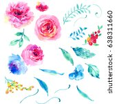 Watercolor Rose Flower Elements