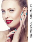 Small photo of Beauty woman face. Red lip makeup, clean skin, blue eyes, hands near face with green ail polish. White background