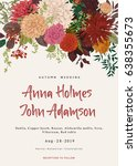 wedding invitation. summer and... | Shutterstock .eps vector #638355673