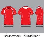 sport polo neck shirt red white  | Shutterstock .eps vector #638363020