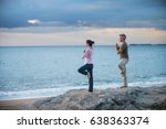 beautiful couple practicing... | Shutterstock . vector #638363374