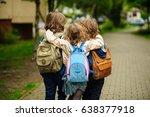three little school students go ... | Shutterstock . vector #638377918