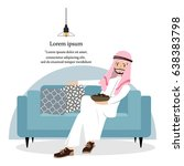 happy arab man relaxing with... | Shutterstock .eps vector #638383798