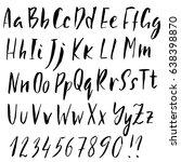 hand drawn dry brush font....   Shutterstock .eps vector #638398870