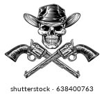 skull cowboy in hat and a pair... | Shutterstock .eps vector #638400763