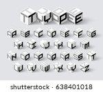 cube shape 3d isometric font ... | Shutterstock .eps vector #638401018