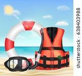 diving mask snorkel life vest... | Shutterstock .eps vector #638403988