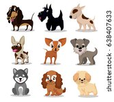 cute happy dogs. cartoon funny... | Shutterstock .eps vector #638407633