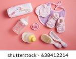 baby necessities on pink color...   Shutterstock . vector #638412214