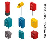 Isometric Set Of A Post Box Or...