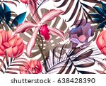 seamless tropical flower  plant ... | Shutterstock . vector #638428390