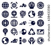 earth icons set. set of 25... | Shutterstock .eps vector #638433580