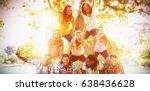 happy friends in the park... | Shutterstock . vector #638436628