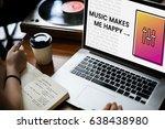 hands working on laptop network ... | Shutterstock . vector #638438980