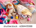 children's clothes and a toy... | Shutterstock . vector #638445088