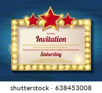 invitation card. glowing golden ... | Shutterstock .eps vector #638453008