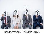 businesspeople sitting in queue ... | Shutterstock . vector #638456068