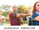 mature man stretching at park... | Shutterstock . vector #638461198
