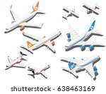 isometric planes set. private... | Shutterstock .eps vector #638463169