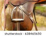 Closeup Leather Cowboy Saddles...