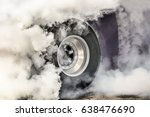 drag racing car burns off its... | Shutterstock . vector #638476690