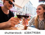 young couple with glasses of... | Shutterstock . vector #638479084