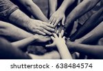 group of people holding hand... | Shutterstock . vector #638484574