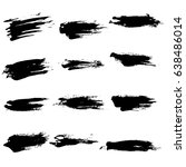 ink vector brush strokes set.... | Shutterstock .eps vector #638486014