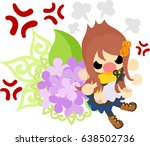 a cute girl in anger and an... | Shutterstock .eps vector #638502736