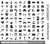 100 child health icons set in...   Shutterstock .eps vector #638502913