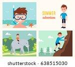 boy snorkeling   climbing rock... | Shutterstock .eps vector #638515030