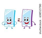 two cartoon mobile phone... | Shutterstock .eps vector #638515780