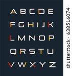 trendy futuristic uppercase... | Shutterstock .eps vector #638516074