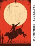 silhouette of a cowboy riding... | Shutterstock .eps vector #638521969